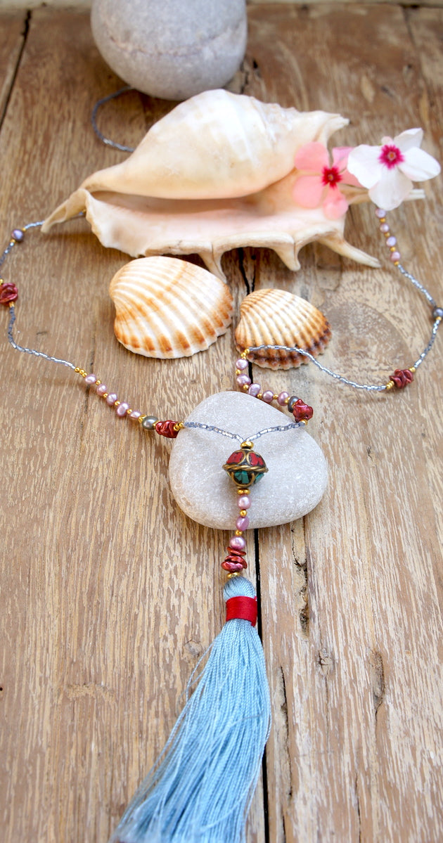 Fine Nepalese Necklace with multicolor Stones