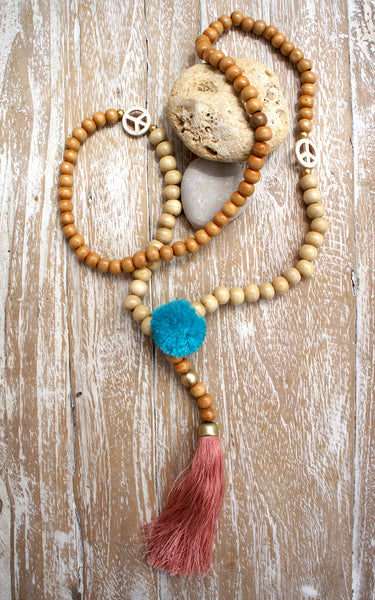 Wood Mala Long Necklace Peace Pompom