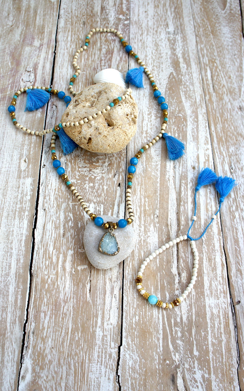 Long Necklace Agatha Tassels Mala