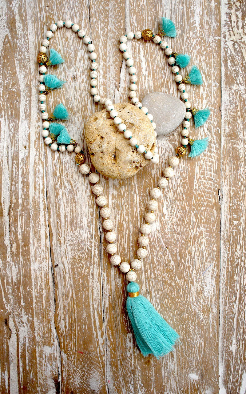 White Stone Mala Tassel Necklace