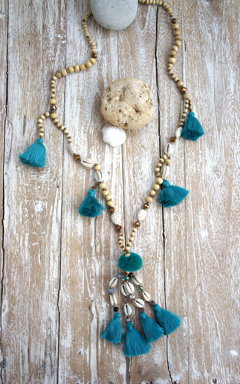 Wood Mala with Tassels, Shells & Pompom Necklace