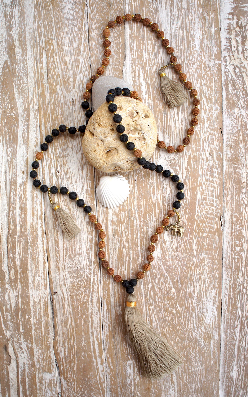 Lava Rudraksha Charm Long Necklace