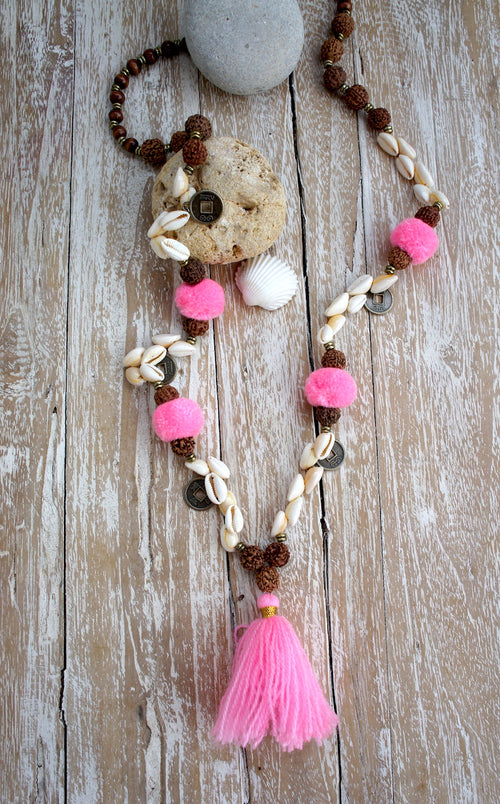 Wood Mala Chinese coins, Shells Pompom Long Necklace