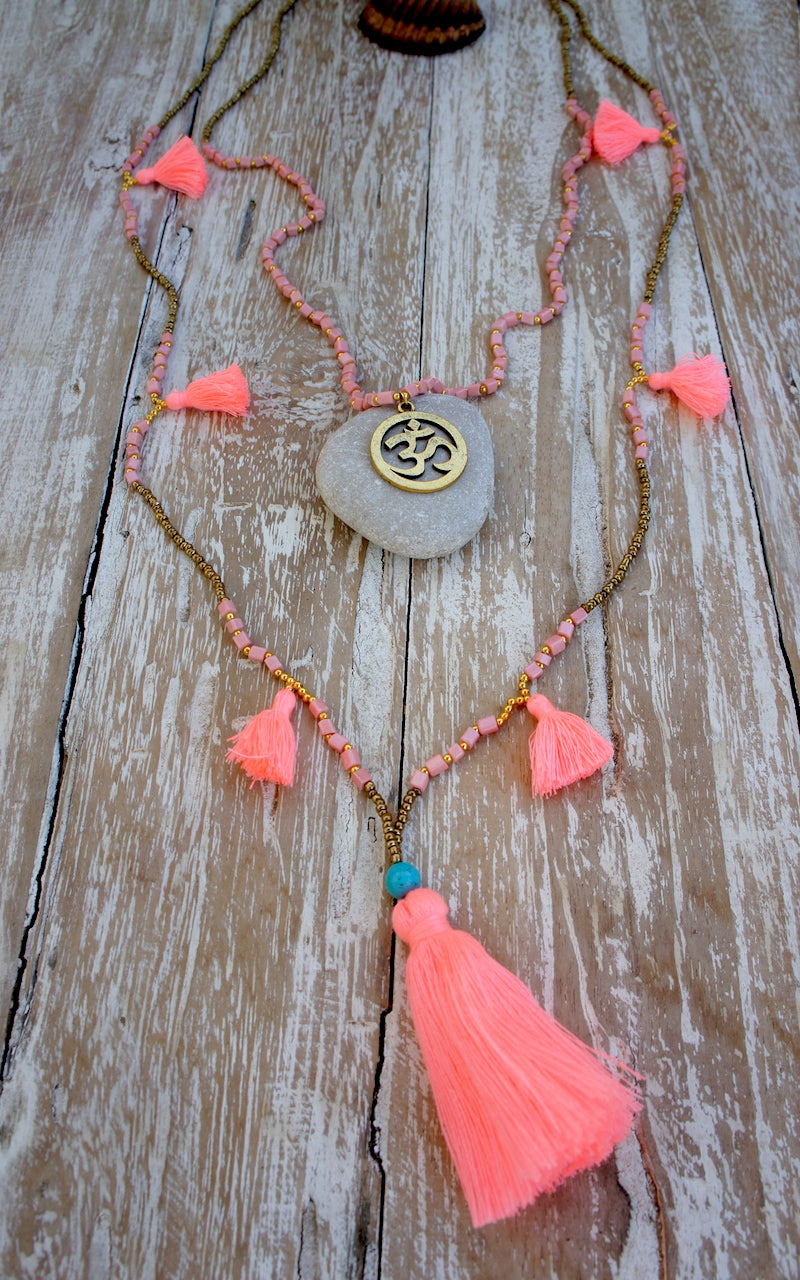 Fine Gold Beads Aum Symbol Long Double Necklace