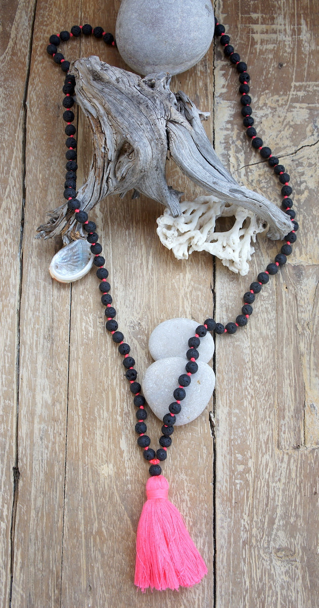 Lava Necklace w/ Tassels