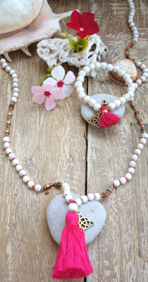 White Beads Necklace Trinity Symbol