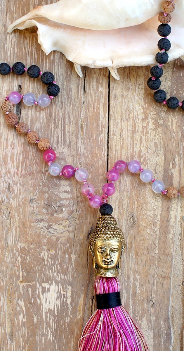 Gold Buddha Aghata Lava Necklace