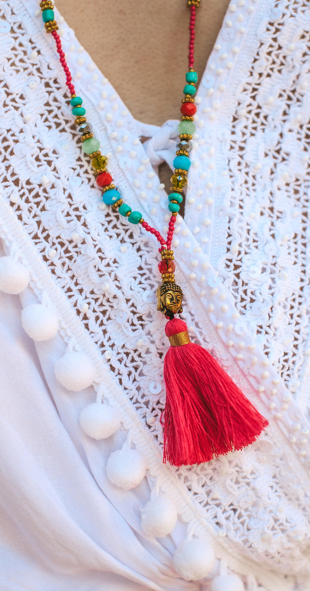 Mini Buddha Mix Crystal Tassel