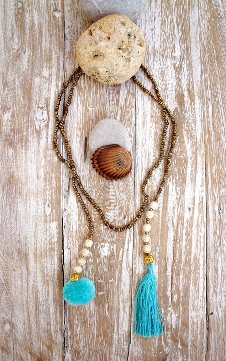 Lucky Charm Shells Feathers Long Necklace