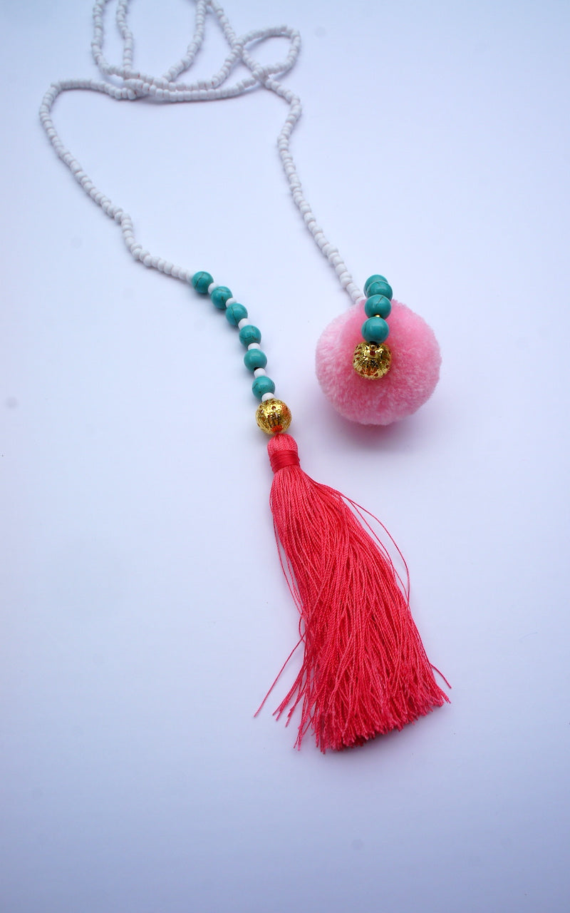 Belt of fine Golden Beads with pompom & tassel