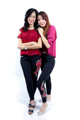 Embroidered Floral Soft Snug| Hot slimming pants
