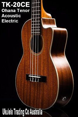NEW Tenor Electric Acoustic Ukulele Ohana TK-20CE Uke Solid Mahogany Wood Top