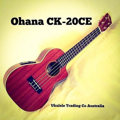 OHANA CK-20CE Concert Electric Solid Mahogany Top FREE TUNER + POSTAGE + Setup
