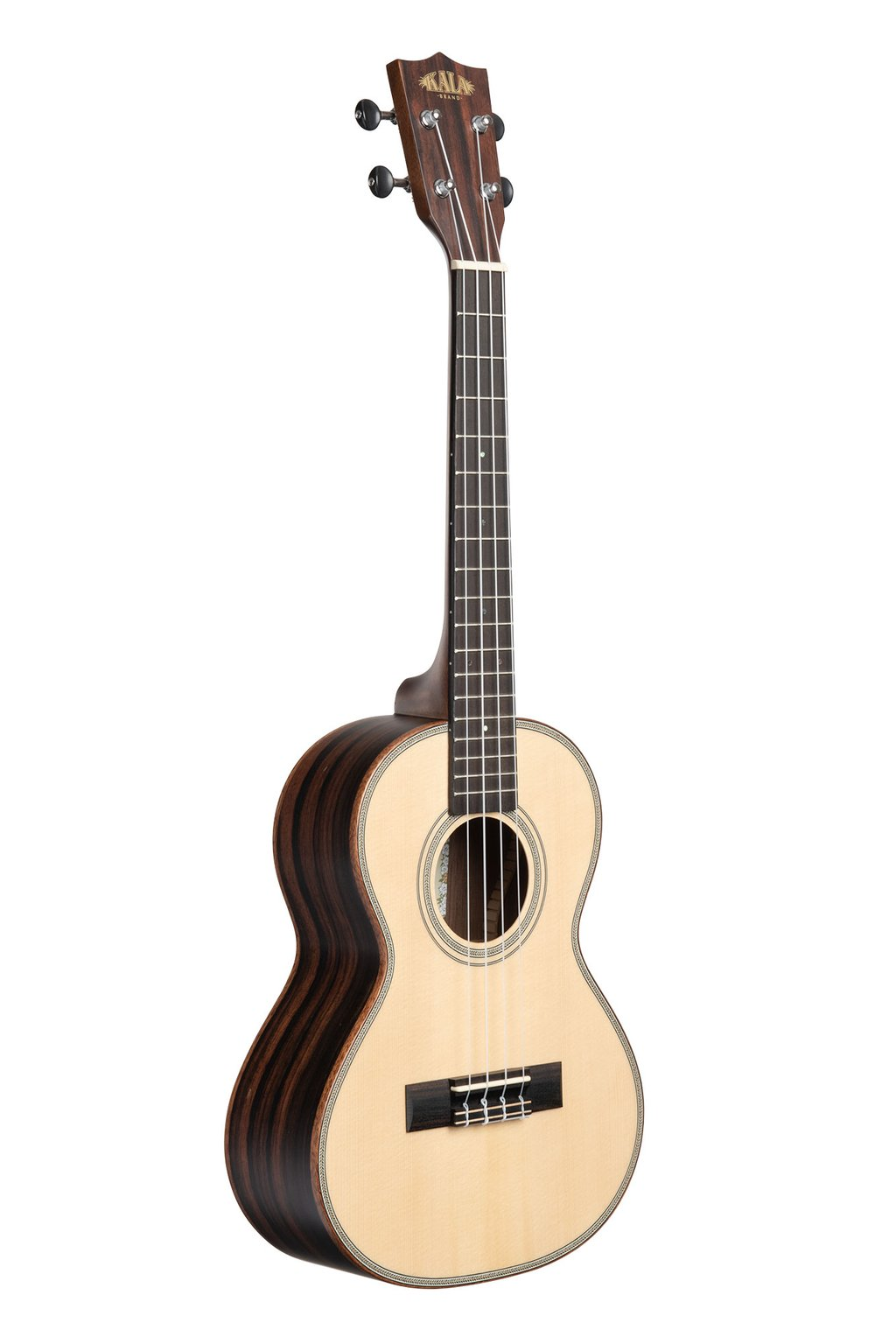 Kala KA-SSEBY-T Tenor Ukulele Solid Spruce Top with Striped ebony back and sides Ukulele Trading Co Australia