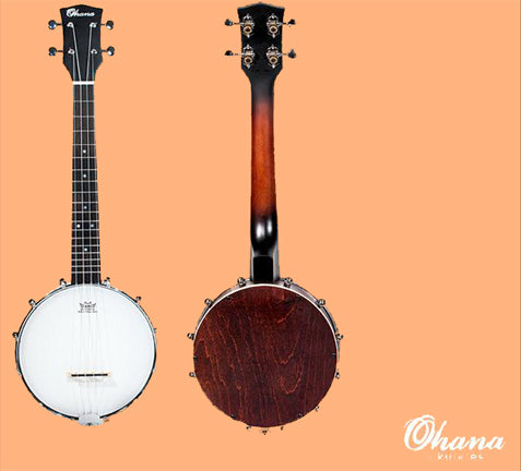 TK-120BUC Ohana Tenor Banjolele Banjo Ukulele Closed Back Resonator ukulele trading co australia