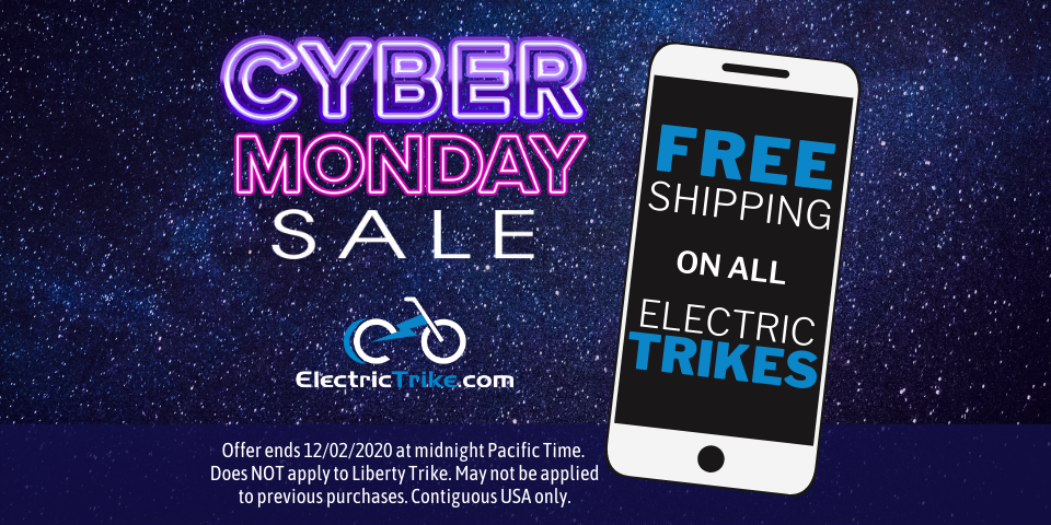 FREE Shipping on all Electric Trikes – Cyber Monday Sale for Electric Trike