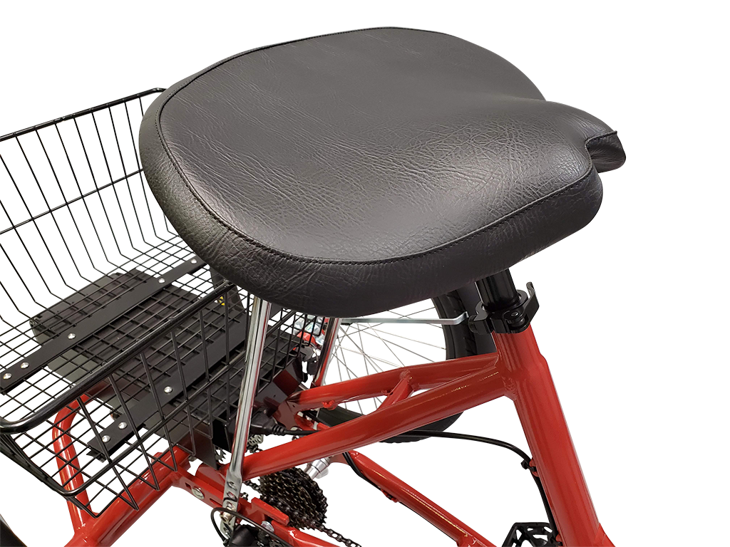 The Step-Through trike has a large tractor sytle seat