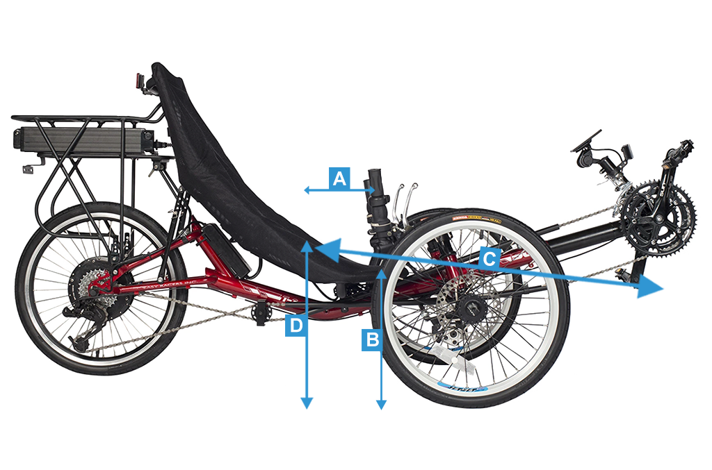 The T3 CX electric recumbent trike overall measurements
