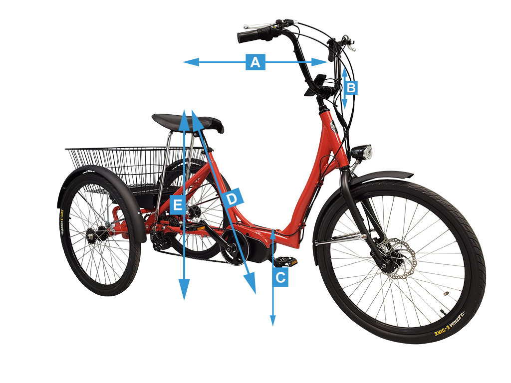 Step-Through electric trike overall sizing measurements
