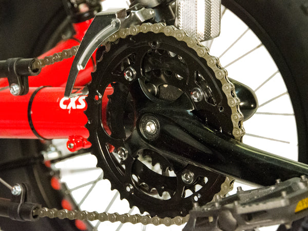 A 24 speed drivetrain provides a wide range of gears