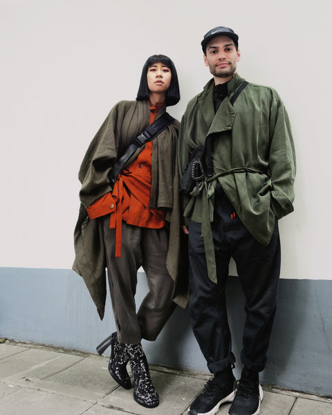 ROSEN O-Ren Coat in Olive Green Boiled Silk Wool