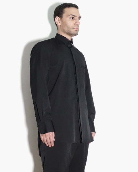 ROSEN Aalto Shirt in Black Technical Cotton