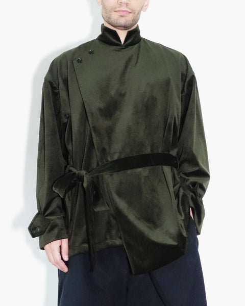 ROSEN Bronte Shirt in Moss Green Velvet
