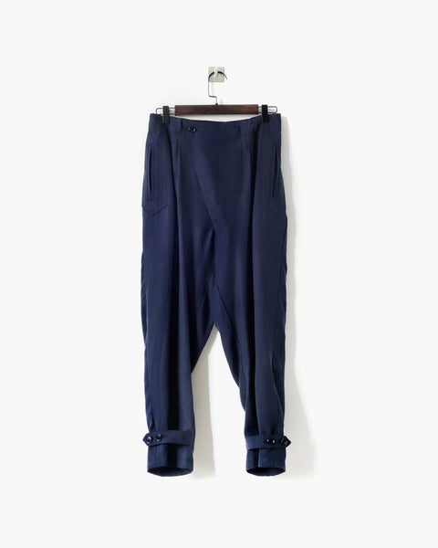 ROSEN Brontë Trousers in Navy Sandwashed Silk