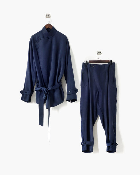 ROSEN Brontë Suit in Navy Sandwashed Silk
