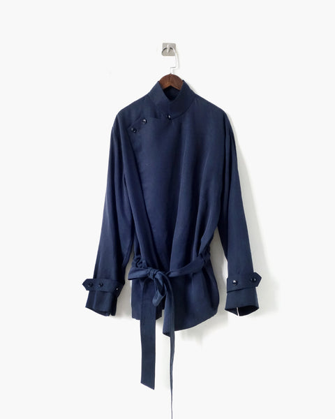 ROSEN Brontë Shirt in Navy Sandwashed Silk