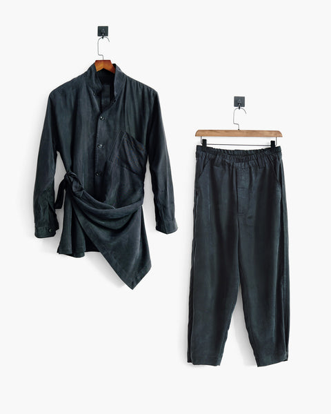 ROSEN Plato Suit in Off-Black Sandwashed Silk
