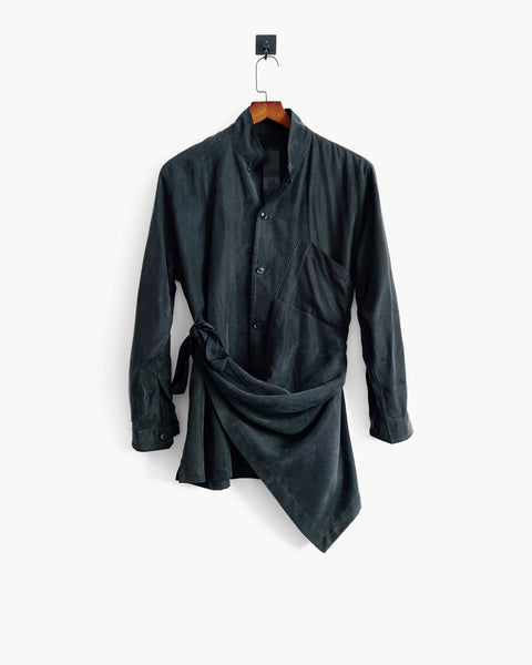 ROSEN Plato Shirt in Off-Black Sandwashed Silk