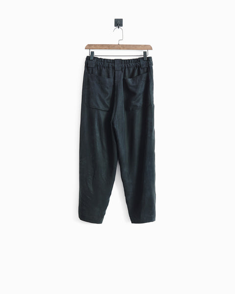 ROSEN Plato Trousers in Off-Black Sandwashed Silk