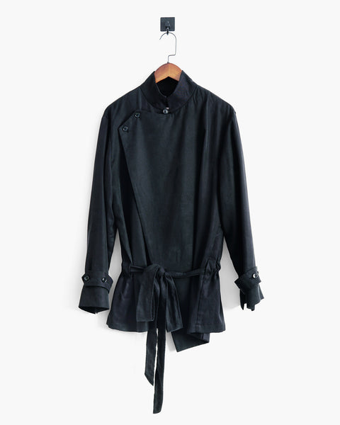 ROSEN Brontë Shirt in Black Sandwashed Silk