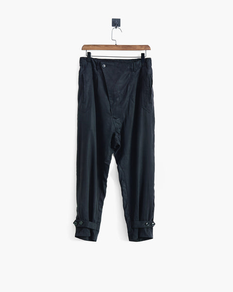 ROSEN Brontë Trousers in Black Sandwashed Silk