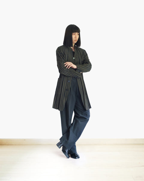 Issey Miyake Pleated Striped Coat