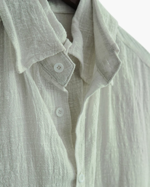 ROSEN Oliver Shirt in Ivory Cotton Linen