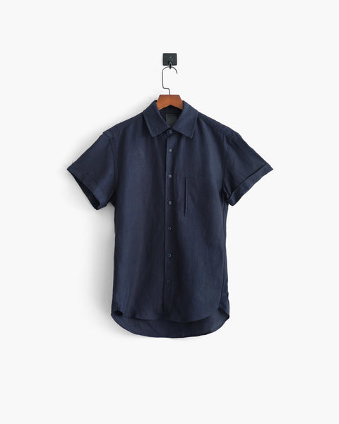 ROSEN-S Short Sleeve Summer Shirt - Blue Silk Linen