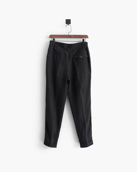ROSEN-S Daily Suit Trousers - Black Linen