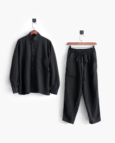 ROSEN-S Leisure Suit - Black Silk Linen
