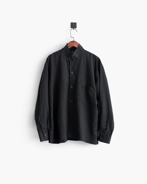 ROSEN-S Leisure Shirt - Black Silk Linen