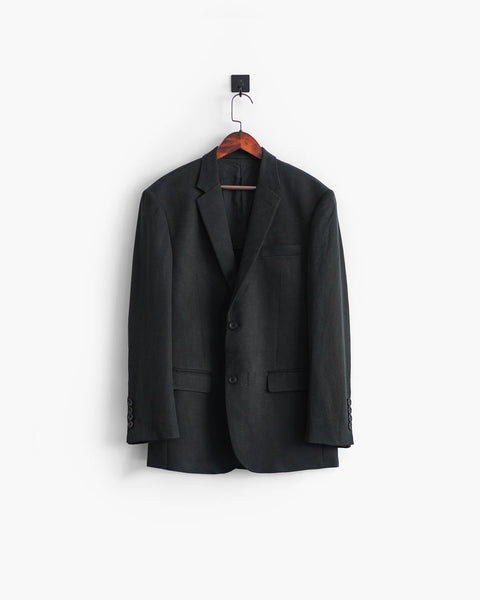 ROSEN-S Professional Suit Jacket - Dark Grey Silk Linen