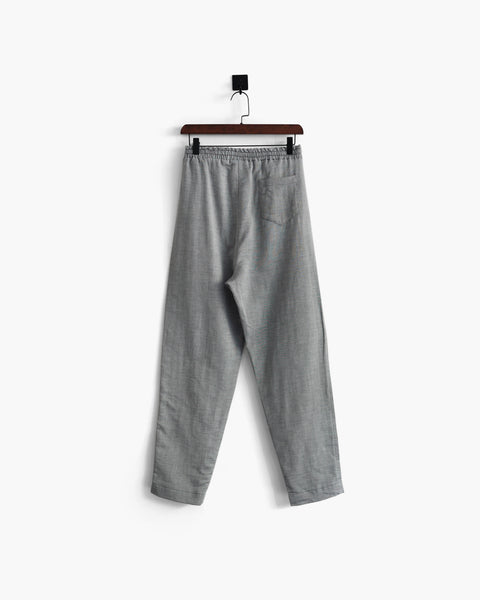 ROSEN-S Leisure Trousers - Striped Grey Linen