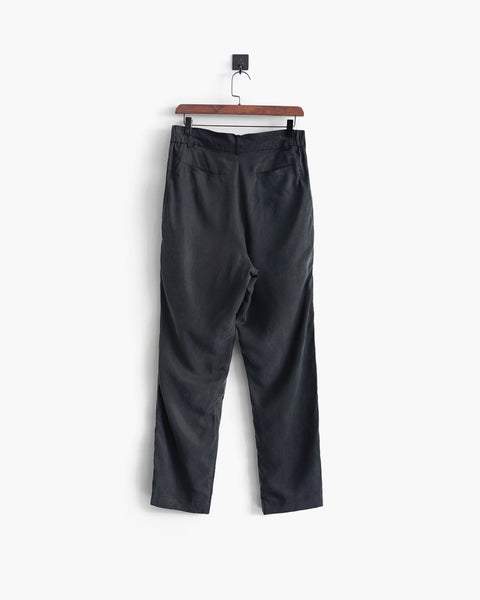 ROSEN-S Weekend Trousers - Off-Black Silk Linen