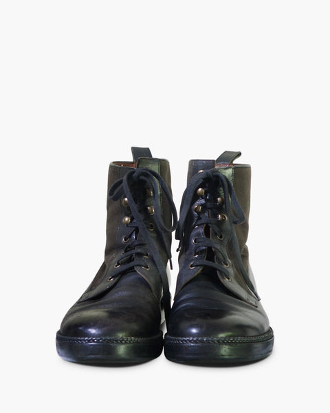 Lanvin Mens Lace-Up Leather Boots Size 8