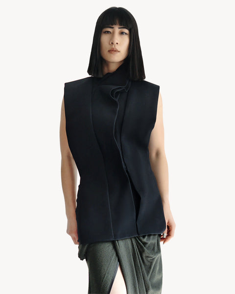 Haider Ackermann Origami Structured Silk Top FR 40