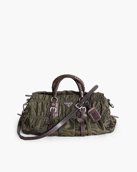 Prada Tessuto Leather-Trimmed Gaufre Handbag