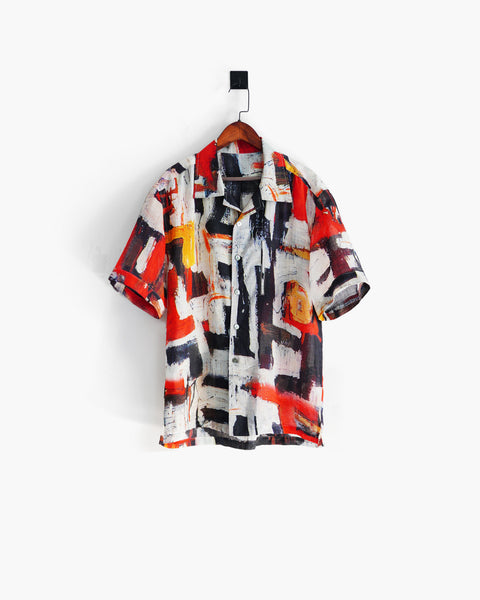 ROSEN-S Short Sleeve Shirt - Analogue Print Ramie