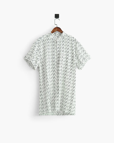 ROSEN-S Short Sleeve Shirt - White Rain Linen