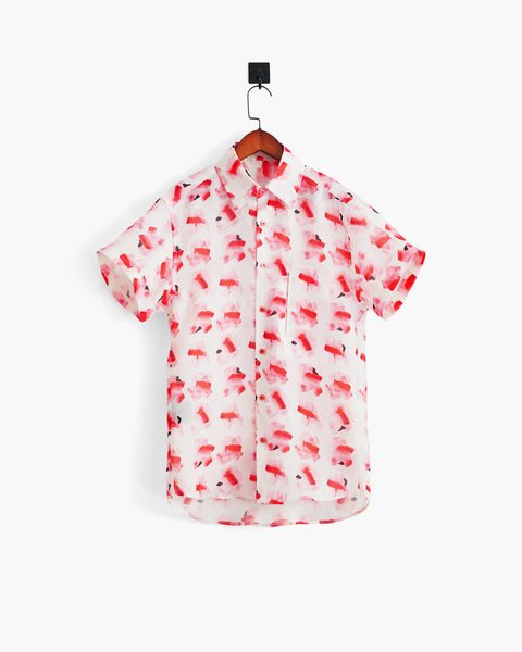 ROSEN-S Short Sleeve Shirt - Printed Silk Organza